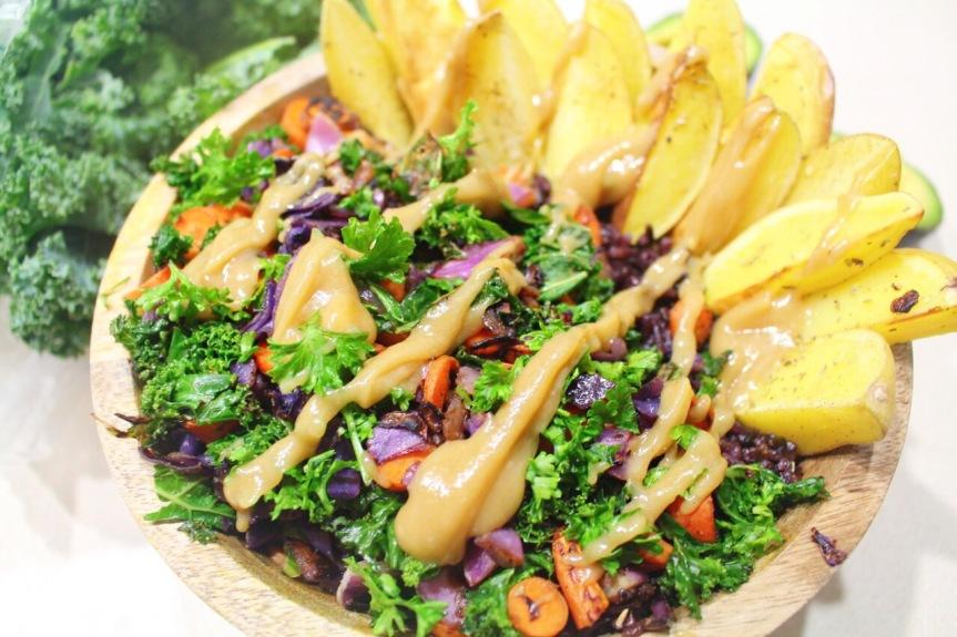 Black Rice & Veggie Bowl with Sweet LemonTahini
