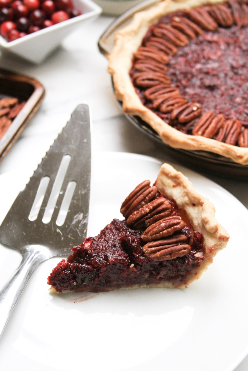 Vegan Cranberry Pecan Pie w/ Candied Pecans