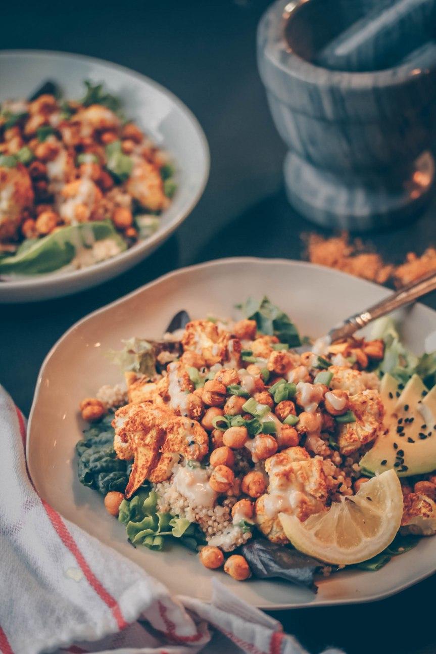 Curried Cauliflower & Chickpea Salad w/ CoconutQuinoa